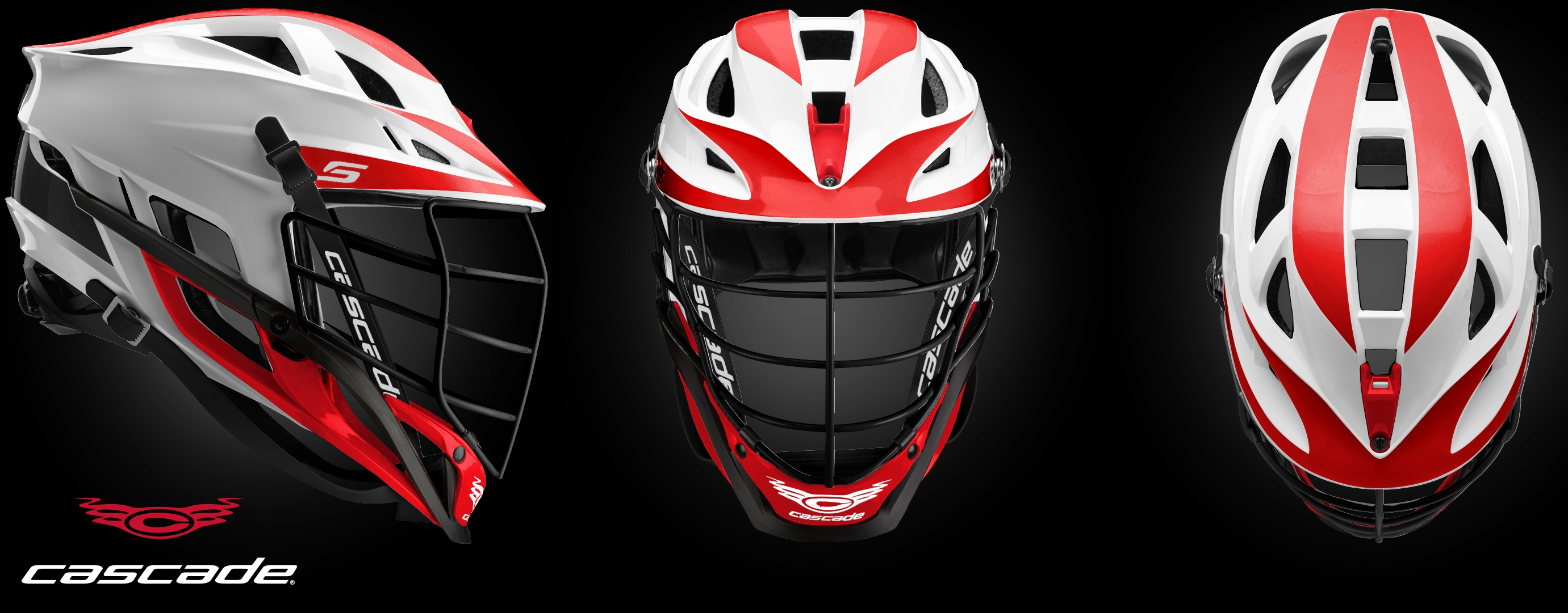 Cascade helmet in white & red
